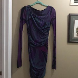 Emilio Pucci purple grey stretch dress sz 8